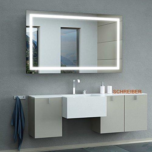 Schreiber Design LED Badspiegel mit Lichtstarke LEDplus FlächenLED Comfort 130 cm Breit x 80 cm Hoch Licht umlaufend | durchgehendes Lichtfeld