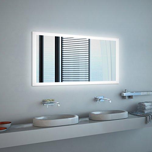Spiegel ID dein.Spiegel.online Noemi Design: LED BADSPIEGEL mit Beleuchtung - Made in Germany - Individuell Nach Maß - Auswahl: (Breite) 120 cm x (Höhe) 80 cm - LED Lichtfarbe: warmweiß