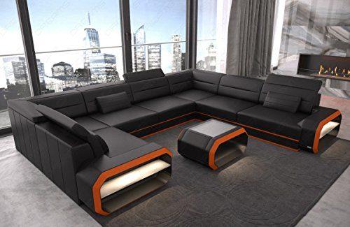 Sofa Dreams Design Leder Wohnlandschaft Verona U mit LED Beleuchtung