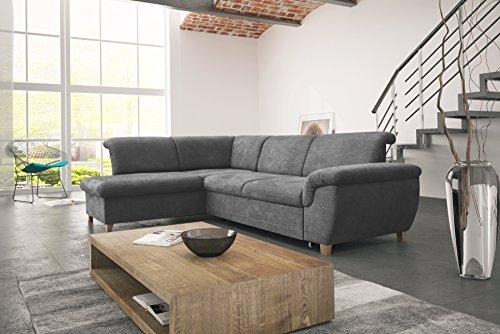 mb-moebel Ecksofa Eckcouch mit Bettkasten Sofa Couch L-Form Polsterecke Andria (Grau, Ecksofa Links)