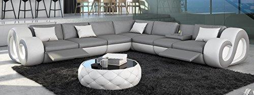 Sofa Dreams Leder Couch Nesta L-Form XXL mit Beleuchtung