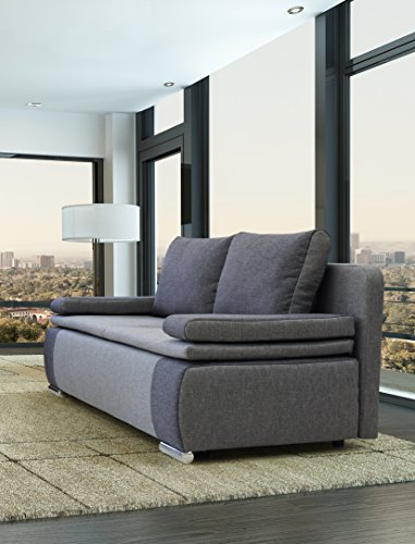 B-famous 100620 Lina Dauerschläfer-Sofa, Feiner Strukturstoff, 87 x 201 x 88 cm, Grau/Hellgrau