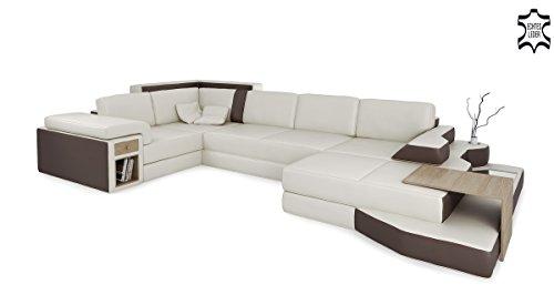 Leder Designsofa Wohnlandschaft XXL Ledersofa Ledercouch Ecksofa Sofa Couch U-Form mit LED-Licht Beleuchtung BERGAMO