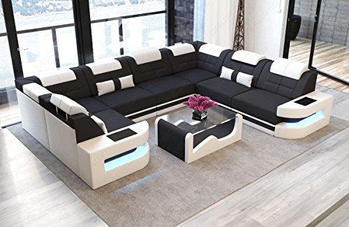 Sofa Dreams Wohnlandschaft Como als U Form in Stoff mit LED Licht