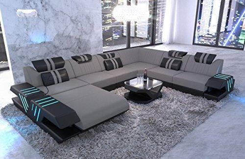 Sofa Dreams Polster Wohnlandschaft Venedig XXL Couch mit Ottomane und LED Licht