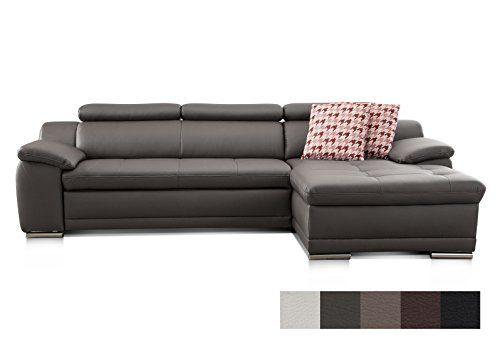 Cavadore Ecksofa Aniamo mit XL-Longchair rechts / Inkl. verstellbarer Kopfteile und Wellenunterfederung / Sitzecke für Wohnzimmer in Kunstleder / Größe: 270 x 80 x 165 cm (BxHxT) / Bezugsstoff in Fango (grau/braun)