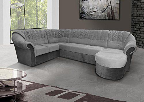 mb-moebel Ecksofa mit Schlaffunktion Eckcouch Sofa Couch mit Bettkästen L -Form Polsterecke Grau Frio 2 (Ecksofa Links)