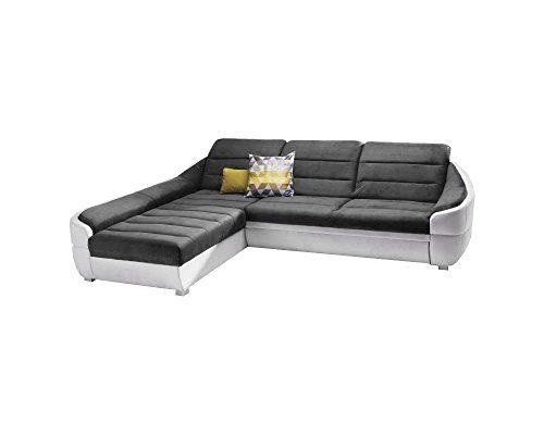 Ecksofa UDINESE mit Schlaffunktion Sofa Couch Schlafsofa Polsterecke Bettfunktion (kunstleder weiß + velour grau)