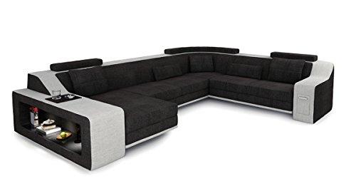 XXL Wohnlandschaft Stoff Sofa schwarz antrazit / platin grau U-Form Ecksofa Design Couch mit LED-Licht Beleuchtung BERLIN