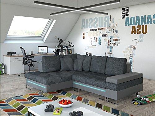 Ecksofa Rico bis mit RGB LED-Beleuchtung, Schlaffunktion und Bettkasten, Design U-Form Eckcouch, Sofa vom Hersteller, Wohnlandschaft (Soft 029 + Majorka 03, Ecksofa: Links)