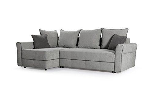 mb-moebel Kleines Ecksofa Couch Polsterecke Polstersofa Eckcouch Velours Sofa Grau Christa (Ecksofa Links)