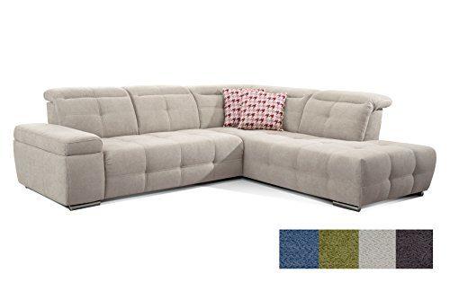CAVADORE Polsterecke Mistrel mit Ottomanen Rechts/Eck-Couch mit Kopfteilverstellung/Verstellbare Kopfteile/Maße: 269 x 77-93 x 228 cm (B x H x T) / Farbe: Grau/Weiß