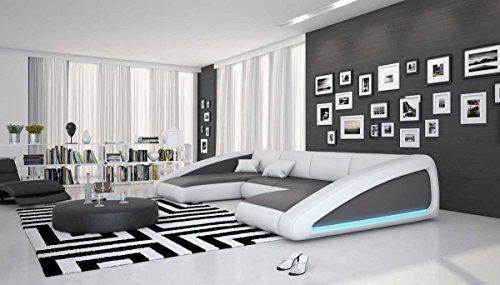 Wohn-Landschaft XXL mit LED-Beleuchtung in grau / weiß 355x200 cm U-Form | Sanassi-U | Design Couch-Garnitur XXL aus Kunstleder | Polster-Ecke für Wohnzimmer grau / weiss 355cm x 200cm