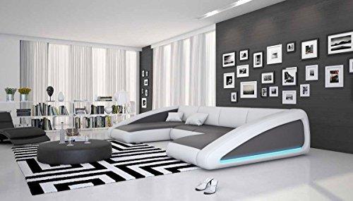 Wohn-Landschaft XXL mit LED-Beleuchtung in grau / weiß 355x200 cm U-Form   Sanassi-U   Design Couch-Garnitur XXL aus Kunstleder   Polster-Ecke für Wohnzimmer grau / weiss 355cm x 200cm