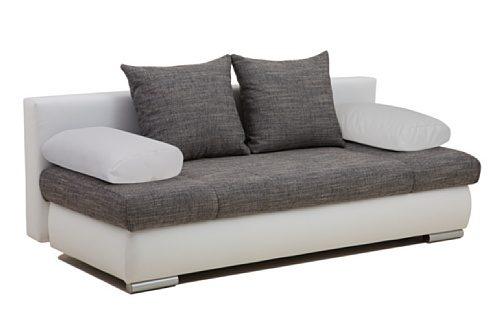 B-famous Schlafsofa Chicago-FK Kunstleder, 200 x 95 cm weiß mit Strukturstoff grau