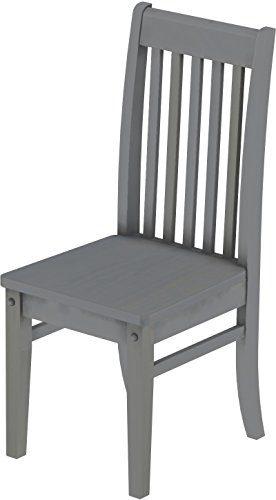 2 x Brasilmöbel Stuhl 'Klassik', 45 cm Sitzhöhe, Pinie Massivholz, Farbton Seidengrau