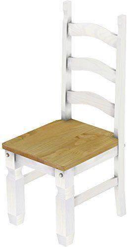 2 x Brasilmöbel Stuhl 'Mexiko', 45 cm Sitzhöhe, Pinie Massivholz, Farbton Brasil - Weiß