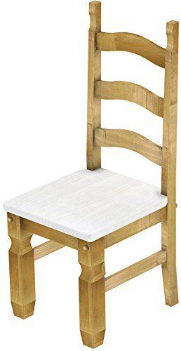 2 x Brasilmöbel Stuhl 'Mexiko', 45 cm Sitzhöhe, Pinie Massivholz, Farbton Snow - Brasil