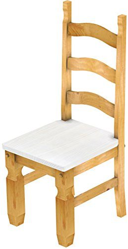 2 x Brasilmöbel Stuhl 'Mexiko', 45 cm Sitzhöhe, Pinie Massivholz, Farbton Snow - Honig