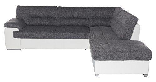Cotta C783662 C121 D200 Lucky Polsterecke Stoff, grau / weiß, 279 x 232 x 93 cm