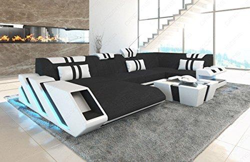 Sofa Dreams Stoff Wohnlandschaft Apollonia in der U Form mit LED Beleuchtung