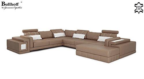 XXL Wohnlandschaft Leder sandbeige / braun Sofa Ledercouch Eckcouch U-Form Designsofa mit LED-Licht Beleuchtung HANNOVER