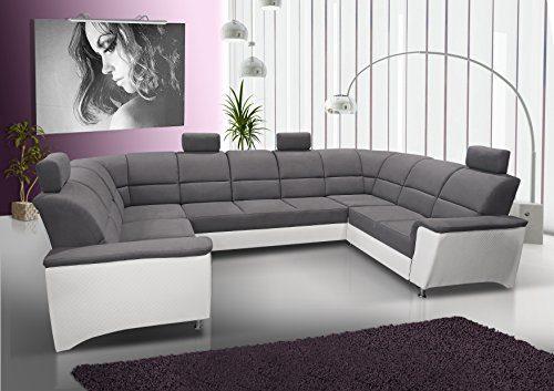 mb-moebel Ecksofa mit Schlaffunktion Eckcouch Sofa Couch U -Form Polsterecke mit Bettkästen Grau + Weiß Bless 4 (Ecksofa Links, Rechts)