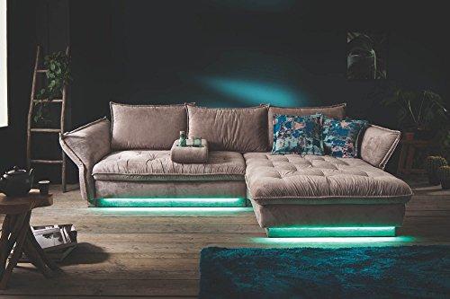 NovaVia-Castello Wohnlandschaft in Silber mit LED-Wechsellicht und Appsteuerung