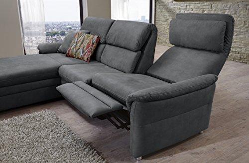 CAVADORE 526 Chalsay Couchgarnitur mit Longchair Links inkl. Relaxfunktion/mit Federkern/Eckcouch im Modernen Design/Größe: 252 x 94 x 177 cm (BxHxT) / Farbe: Grau (Argent)