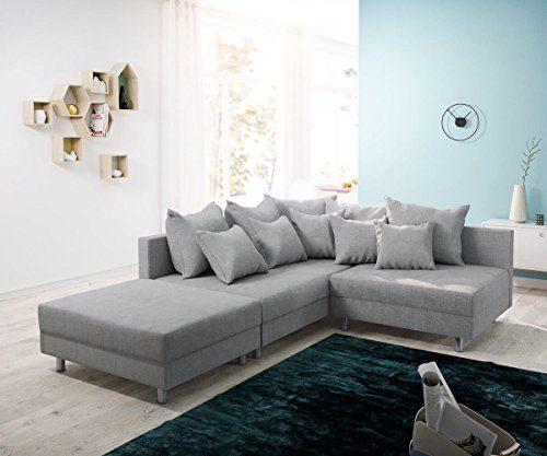 DELIFE Couch Clovis Modular - Ecksofa, Sofa, Wohnlandschaft & Modulsofa (Grau, Ecksofa Links mit Hocker)