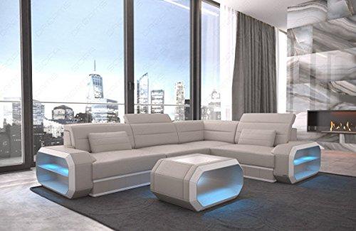 Sofa Dreams Ecksofa Ledercouch Verona mit LED Beleuchtung und Farbwahl