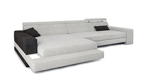Eckcouch Sofa L-Form Couch Stoff Wohnlandschaft grau platin / schwarz Designsofa modern Ecksofa mit LED-Licht Beleuchtung IMOLA III