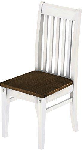 Brasilmöbel 2 x Stuhl 'Klassik', 45 cm Sitzhöhe, Pinie Massivholz, Farbton Eiche Antik - Weiß