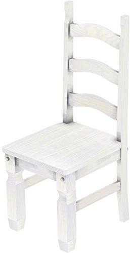 Brasilmöbel 2 x Stuhl 'Mexiko', 45 cm Sitzhöhe, Pinie Massivholz, Farbton Weiß