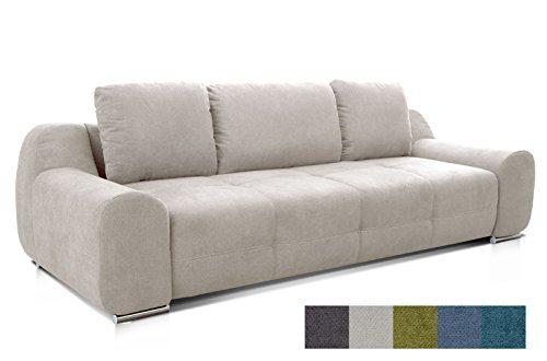 CAVADORE Big Sofa Benderes/Schlafsofa mit Bettfunktion und Bettkasten/Moderne Couch mit Steppung und Ziernaht/Inkl. 3 Kissen/Chromfüße/266 x 70 x 102 (BxHxT)/Grau/Weiß