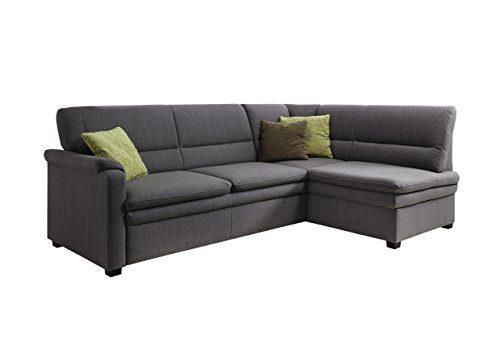 Cavadore Ecksofa Pisoo / Eckcouch mit Schlaffunktion / L-Sofa mit hochwertigem Federkern im klassischen Design / Ottomane rechts / Größe: 245 x 89 x 161 cm (BxHxT) / Farbe: Grau (macciato)