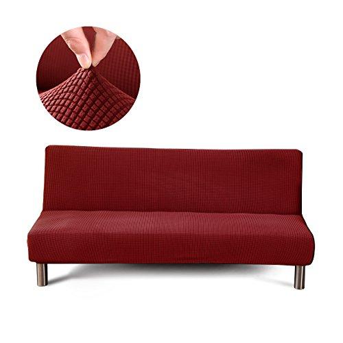 Cornasee Jacquard Sofabezug 3 sitzer ohne armlehne - elastisch gestrickte Schonbezug Sofahusse für Schlafsofa/Clic Clac, Rot