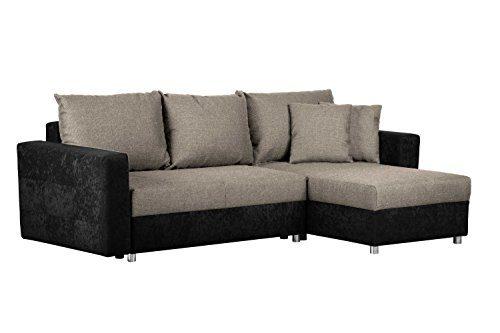 Couch mit Schlaffunktion und Bettkasten / Recamiere rechts oder links montierbar / Ecksofa in L-Form / Mit Strukturstoff in Grau / 233 x 146 x 69 cm (B x T x H)