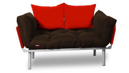EasySitz Schlafsofa Schlafsofa Für Ein Zum Einer Sofa in Unter Schlafsessel '' Er Mein Futon 2 Sitzer Kissen Futonsofa 140 x 210 Schlaffunktion (Braun & Rot)