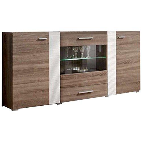 JUSTyou ALEPPI Kommode Sideboard Wohnzimmerschrank (HxBxT): 84x160x35 cm Trüffel Eiche/Weiß Hochglanz