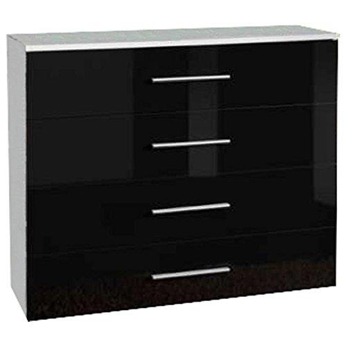 JUSTyou GOU Kommode Sideboard Wohnzimmerschrank (HxBxT): 83x100x40 cm Weiß Matt/Schwarz Hochglanz