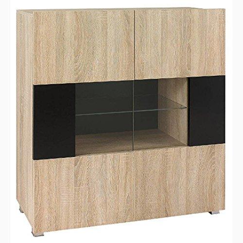 JUSTyou Gordia GR V Kommode Sideboard Wohnzimmerschrank Sonoma Schwarz (HxBxT): 107x100x35 cm