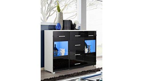 JUSTyou Jagst Kommode Sideboard Schrank (HxBxT): 89x120x41 cm Weiß Matt | Schwarz Hochglanz