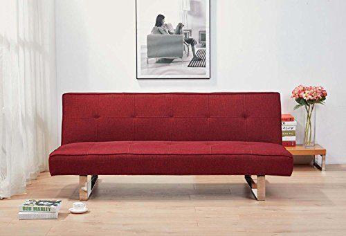 Schlafsofa 3 Sitzer – Modernes Design klares – System einfach und praktisch Schlafcouch–1 Person schlafen – Antibes rot