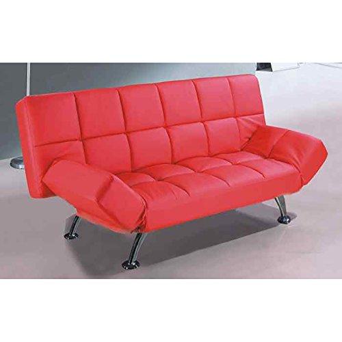 Schlafsofa Kunstleder 3er Sitzer rot - Klappcouch Rückenteil und Armlehnen verstellbar