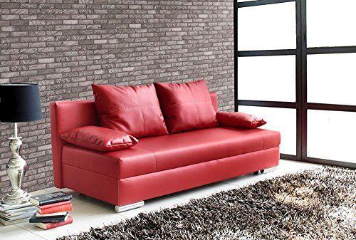 Schlafsofa in rotem Kunstleder, Sofa mit Schlaffunktion und Bettkasten, pflegeleichte Schlafcouch inkl. Rücken- und Armlehnkissen