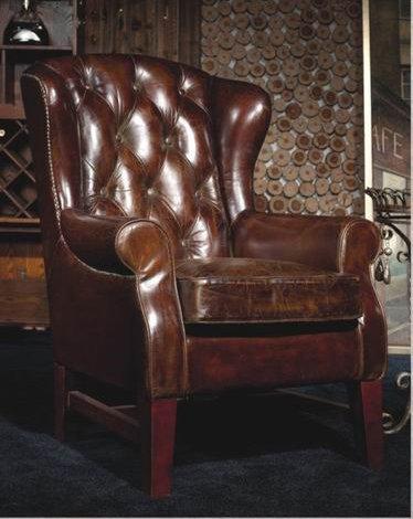 Phoenixarts Chesterfield Vintage Ledersessel Braun Schwarz Echtleder Ohrensessel Design Clubsessel Lounge Sessel (braun)