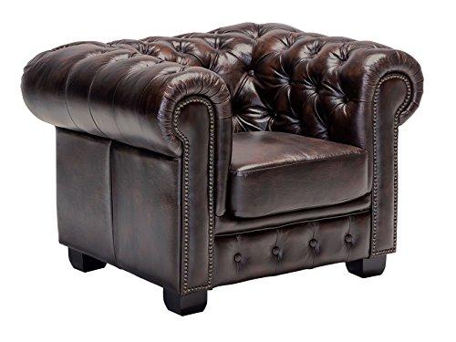 Woodkings Chesterfield Sessel braun vintage Echtleder Bürosessel Polstermöbel antik Designsessel Federkern unikat Herrenzimmer englisches Leder Stilsessel