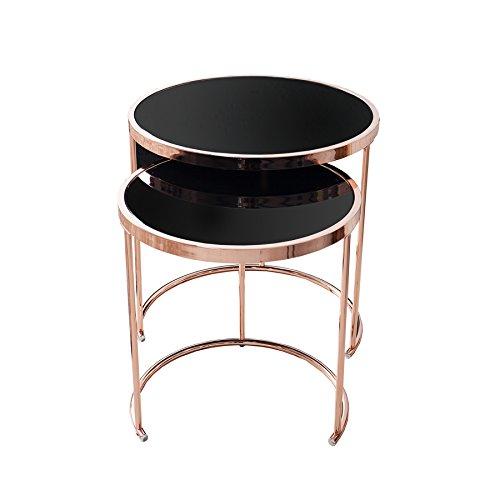 2er Set Design Couchtisch Original ART DECO II kupfer schwarz Beistelltisch Satztische Glastisch