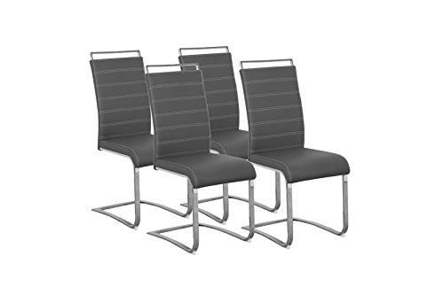 CAVADORE 87739 Schwingerstuhl 4-er Set SHERRY / 4x Freischwinger in modernem Design / Bezug Lederimitat Grau mit weißen Nähten / 57 x 43 x 101 cm (T x B x H)
